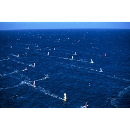 Hawaii Maui Hookipa Aerial Of Group Windsurfers Blue Ocean Horizon Canvas Art   Erik Aeder  Design Pics  19 X 12