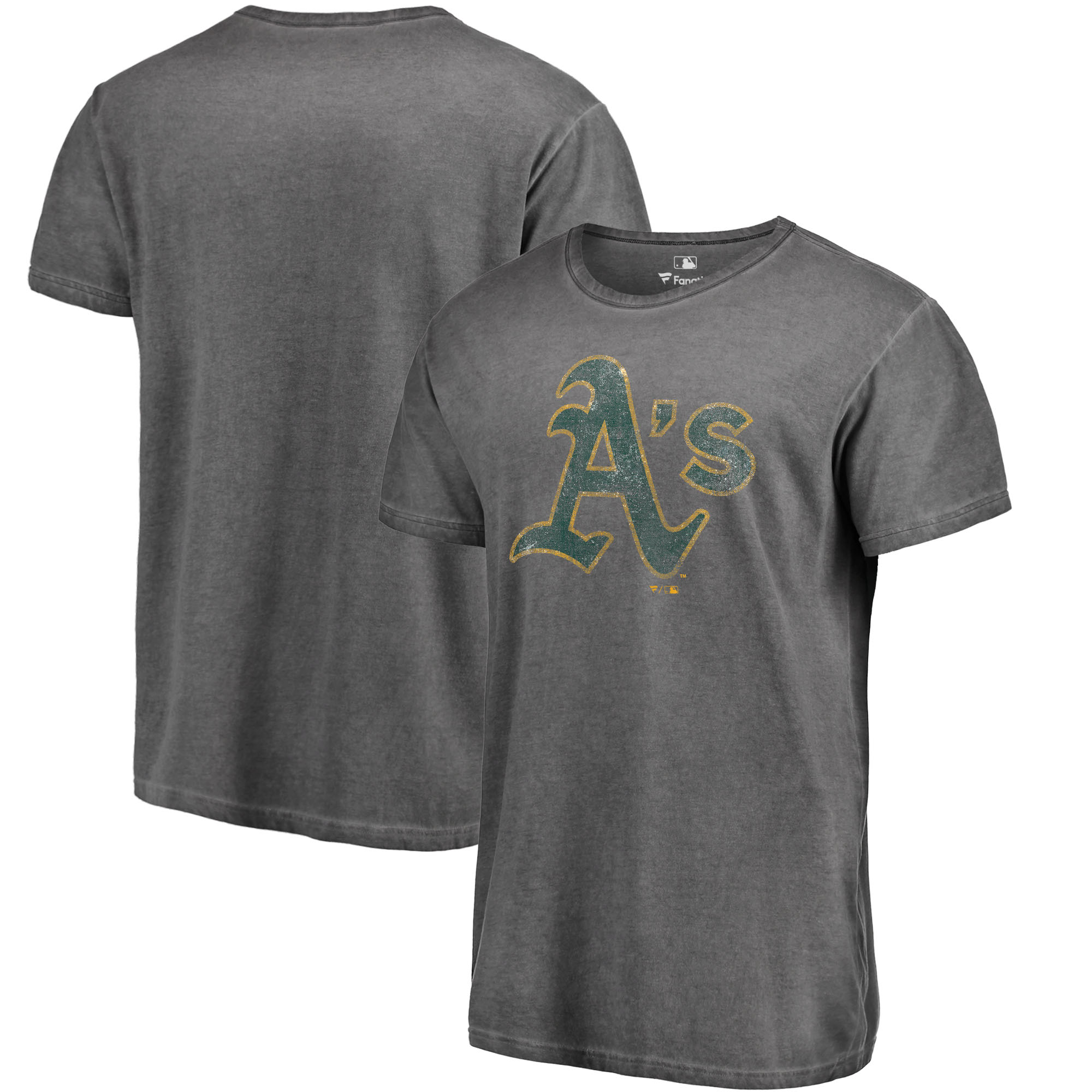 Oakland Athletics Fanatics Branded Shadow Washed Logo T-Shirt - Black