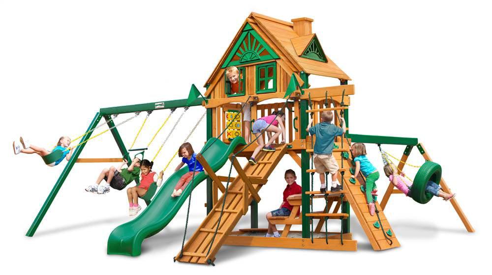 Juguetes Exterior Para Niños Treehouse de columpios con escudo de madera + Gorilla en Veo y Compro
