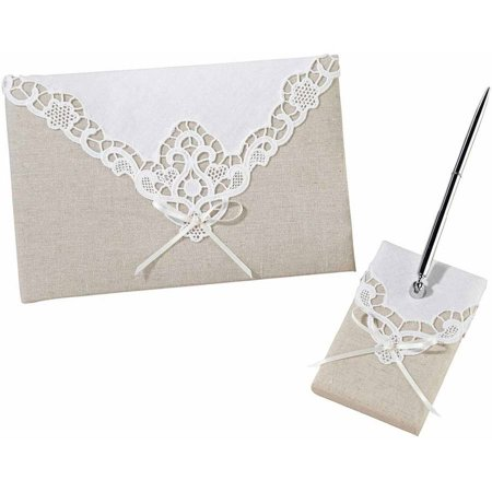 - Lillian Rose Country Lace Guest Book and Pen Set
