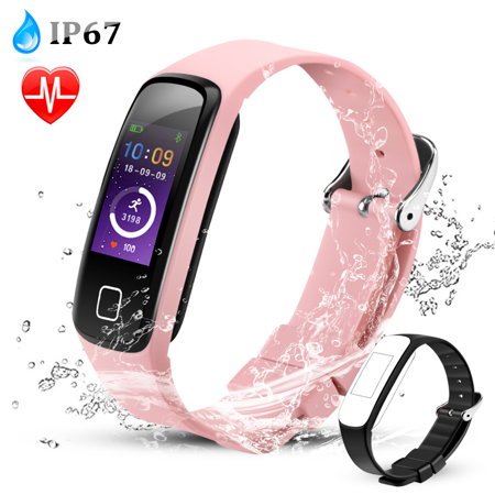 AGPTEK Fitness Tracker Watch, Color Screen Smart Wristband with Sport Band Heart Rate Sleep Monitor Pedometer, Rose gold ()