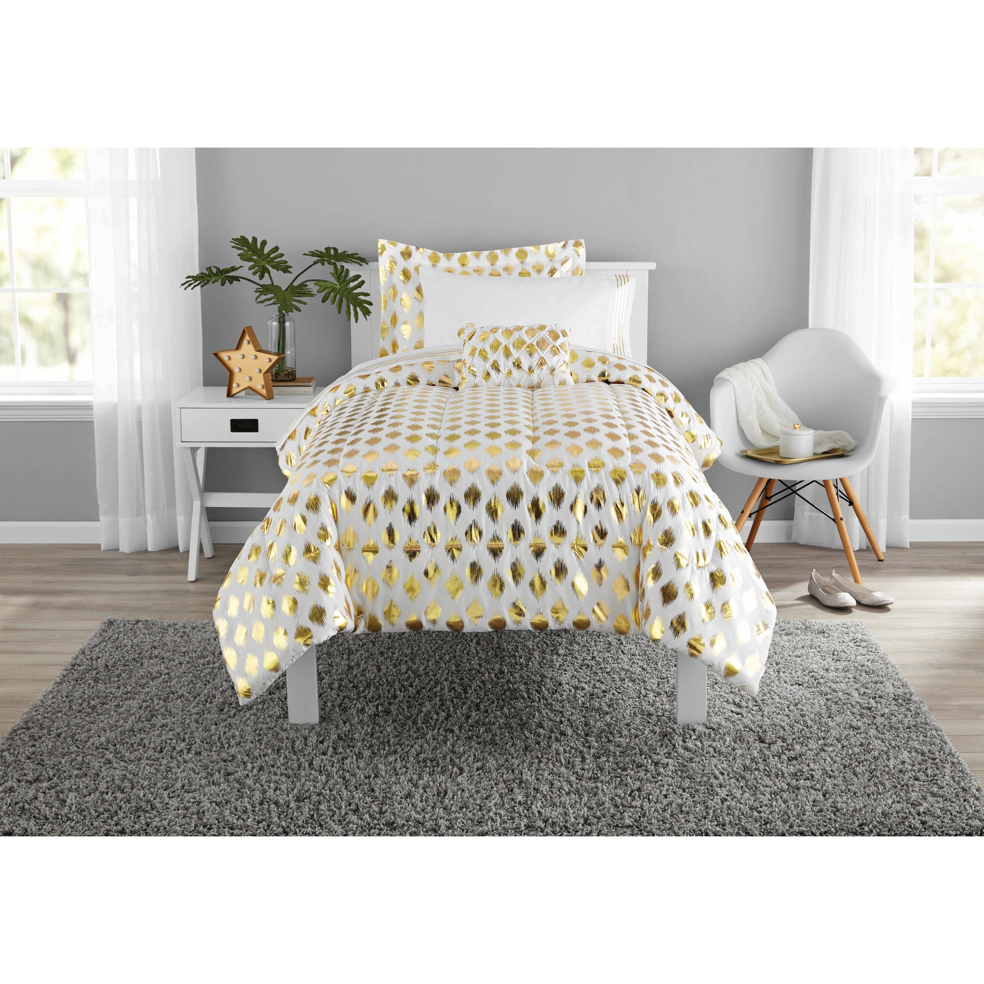 Mainstays Gold Dot Bed In A Bag Bedding Twin Twin Xl