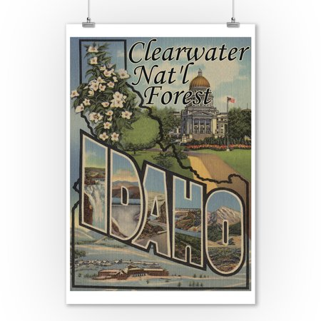 Clearwater Natl Forest  Idaho   Large Letter Scenes  9X12 Art Print  Wall Decor Travel Poster