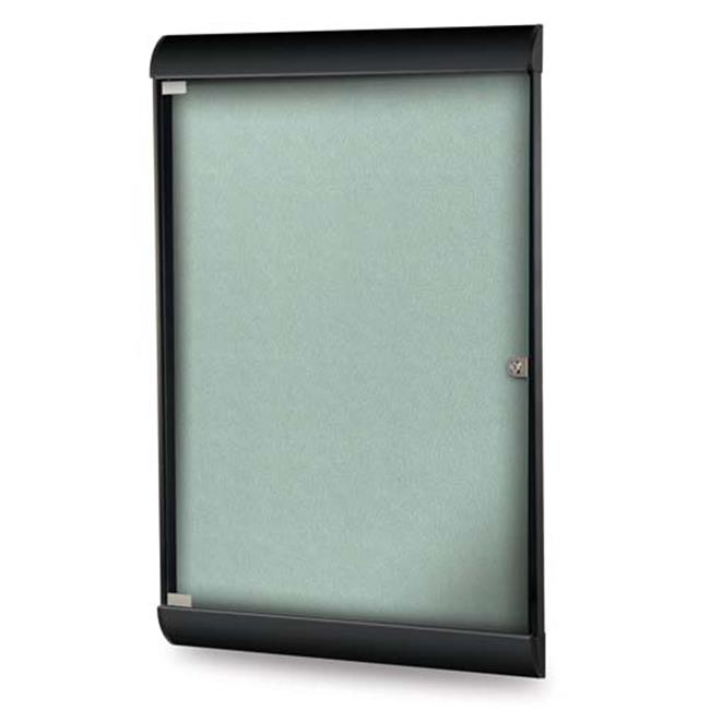 Ghent Manufacturing SILH20479 42.12 x 27.75 in. 1-Door Black Frame Silhouette Enclosed Bulletin Board with Vinyl Fabric, Stone - image 1 de 1
