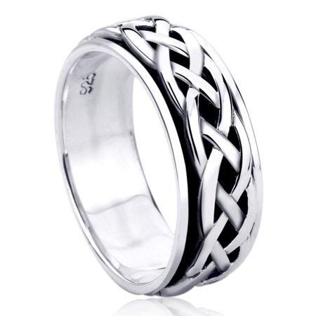 Men Women Sterling Silver 8mm Celtic Spinner Wedding Band Engagement Ring