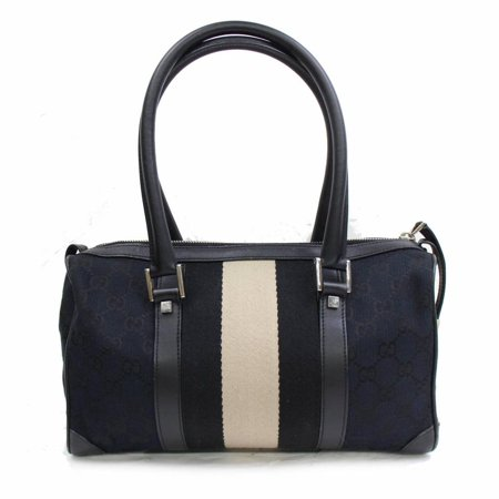 - Boston Sherry Monogram Web 868292 Black Canvas Satchel
