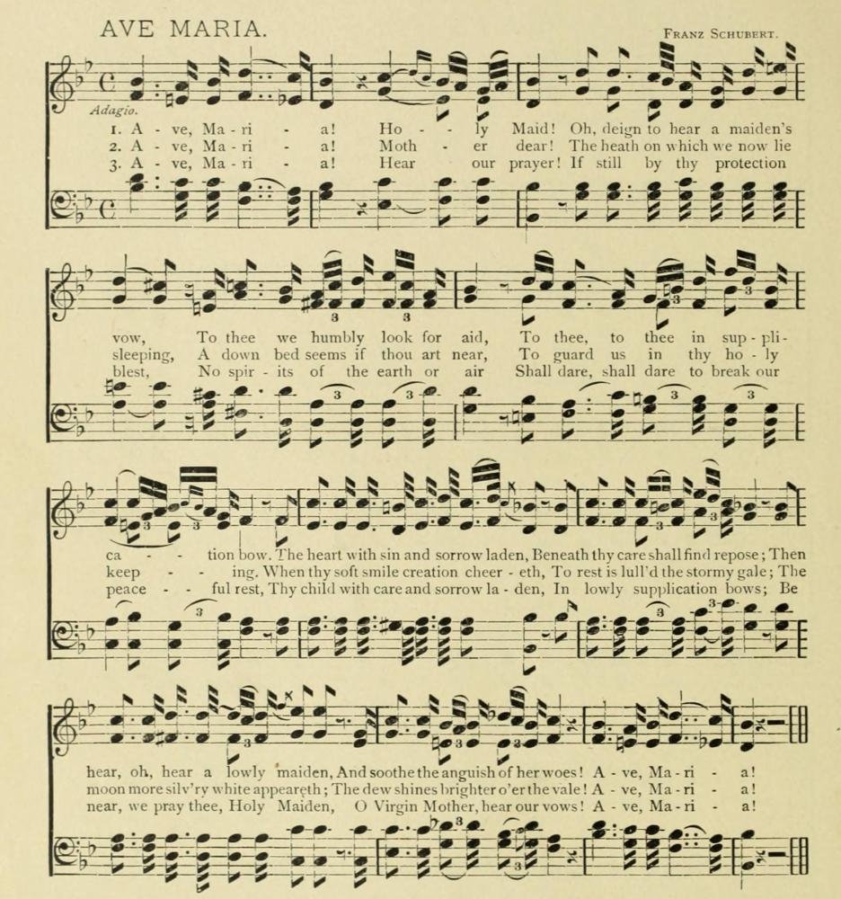 Ave Maria Franz Schubert Christmas in Song & Story 1891 Poster Print ...