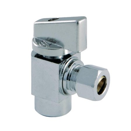 Kingston Brass KF43201CTL Columbia 0.5 SWT x 0.37 in. O.D Compression 0.25 in. Turn Angle Stop Valve, Polished Chrome