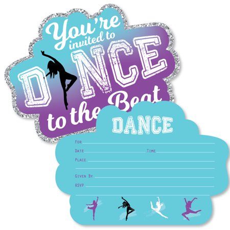 Must Dance to the Beat - Dance - Shaped Fill-In Invitations - Dance Party or Birthday Party Invitation -12 Ct (Halloween Dance Party Invitation Wording)