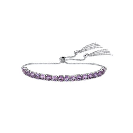Genuine Purple Amethyst Adjustable Slider Bracelet 3.60 TCW in Platinum over Sterling Silver with Fringe Detail