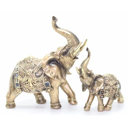 Set of 2 Feng Shui Gold Elephant Trunk Statue Lucky Figurine Gift Home Decor