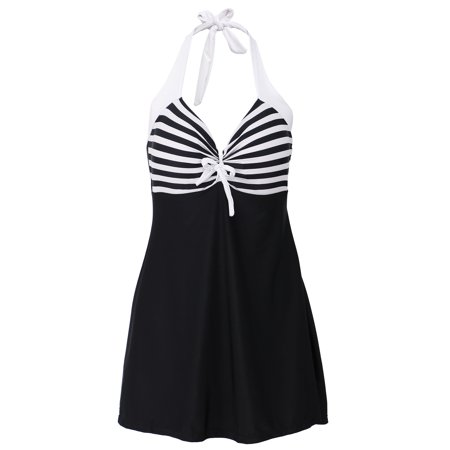 2b1c1163d968e Simplicity - Simplicity One Piece Halter Sailor Swimsuit Cover Up Swimdress  Black Stripe XXXL - Walmart.com