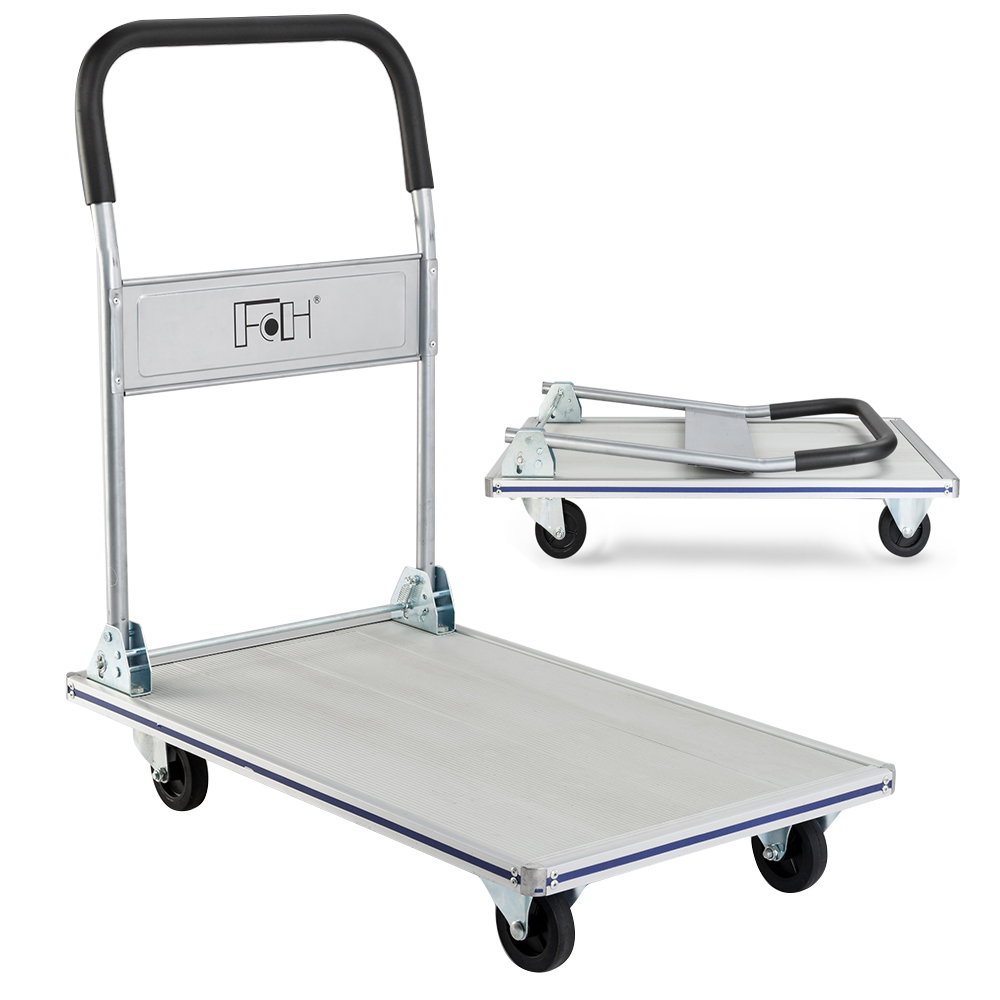 Zimtown Platform Truck Handy Cart, Foldable Hand Trolley Truck, Heavy Duty Warehouse Folding Hand Dolly Cart, w/ Wheels, Ideal for Loading, for Home, Auto, Office Use (660lbs), Multi-colors