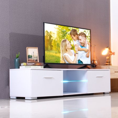 TV Stand Cabinet 57*15*13 inch Media Console Shelves 2 Drawers W/LED Light High Gloss Fashion Furniture