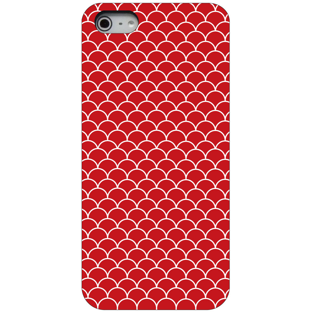 CUSTOM Black Hard Plastic Snap-On Case for Apple iPhone 5 / 5S / SE - Red White Scalloped Pattern