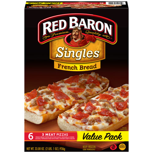 Red Baron Singles French Bread 3 Meat Pizzas, 6 count, 33 oz