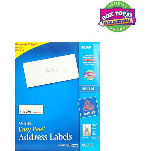 Avery Address Inkjet Label, White, 750ct