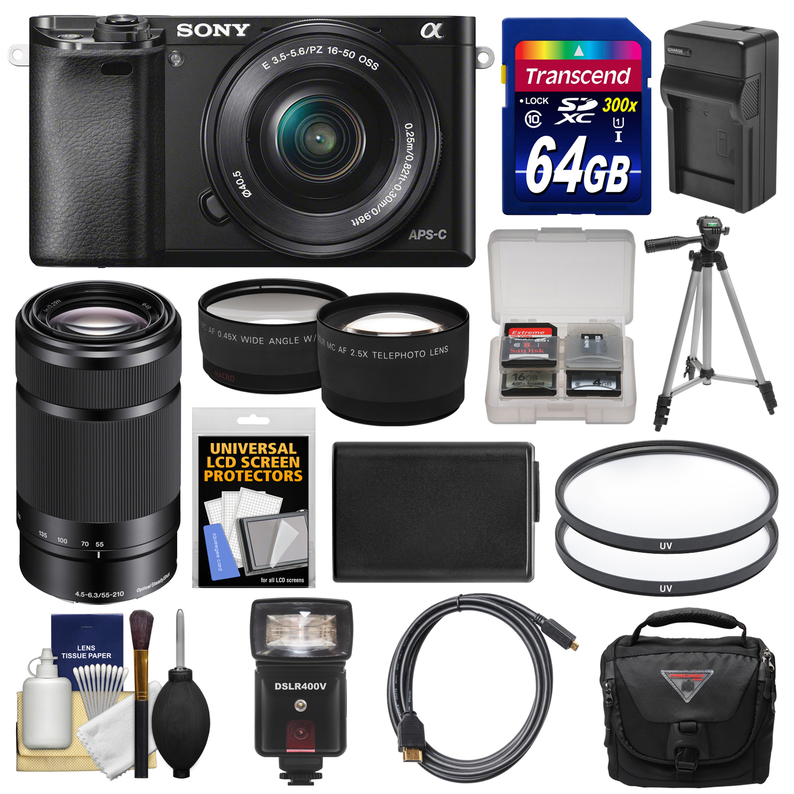 Sony Alpha A6000 Wi-Fi Digital Camera & 16-50mm & 55-210mm Lens with 64GB Card   Case   Flash   Battery/Charger   Tripod Kit