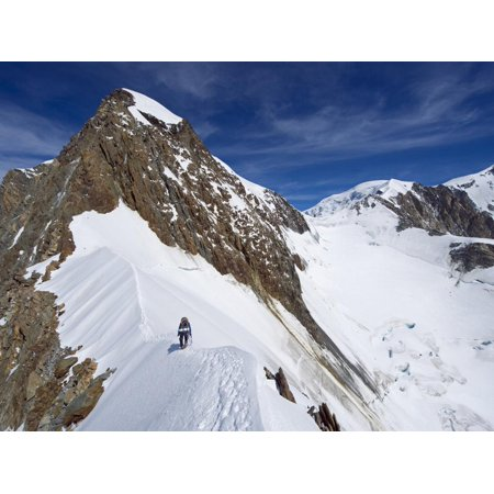 Climber on Snow Ridge, Aiguille De Bionnassay on the Route to Mont Blanc, French Alps, France Print Wall Art By Christian