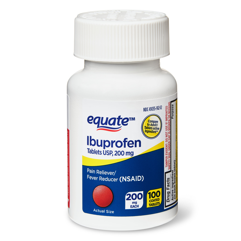 Equate Ibuprofen Pain Reliever Fever Reducer Coated Tablets 200mg 100 Count Walmart Com Walmart Com