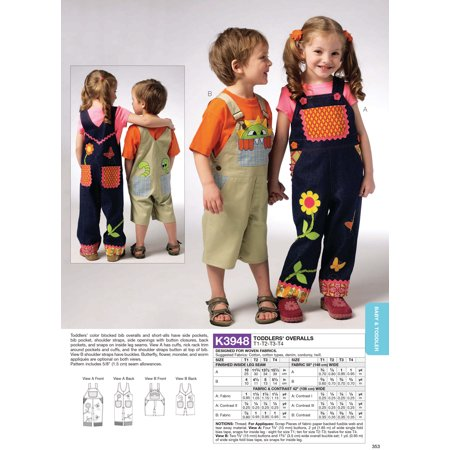 Kwik Sew Pattern Toddlers' Overalls, (T1, T2, T3, T4) Easy To Sew Patterns
