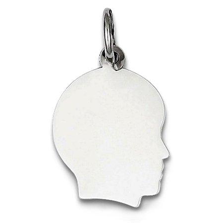 2284f803b Jewelry Affairs - 14K White Gold Boy Head Silhouette Charm - Walmart.com