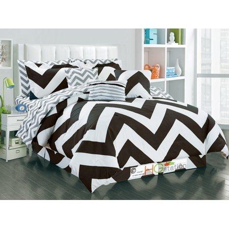 11-Pc Striated Chevron ZigZag Reversible Comforter Sheet Set Coffee Brown White Gray King ()