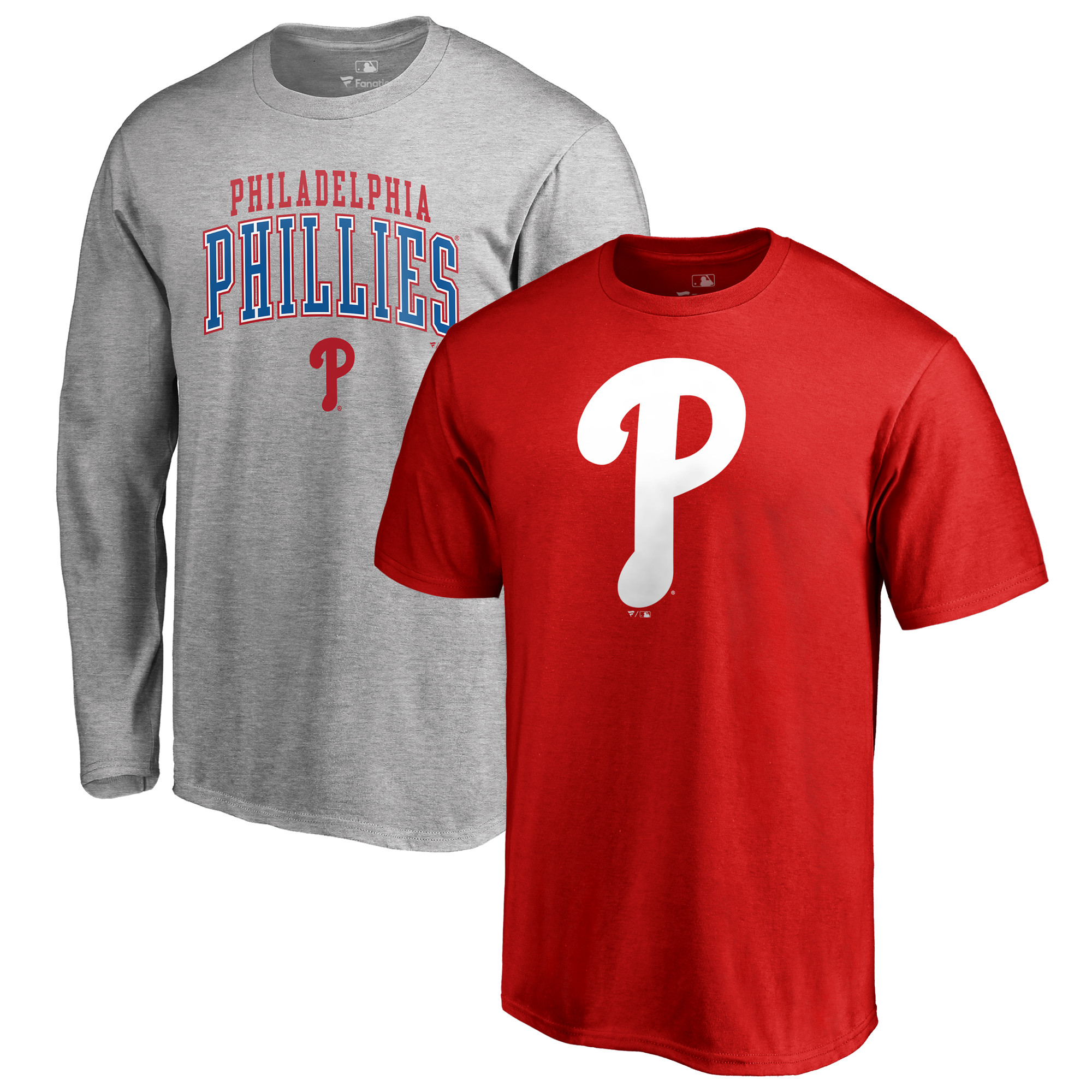 Philadelphia Phillies Fanatics Branded Big & Tall Long Sleeve & Short Sleeve T-Shirt Combo - Red/Gray