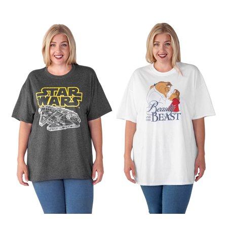 Disney Star Wars Beauty & The Beast Women Plus Size T-Shirt 2-PACK