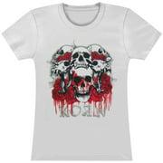 Korn  Red Roses Gray Logo Girls Jr Soft tee Grey