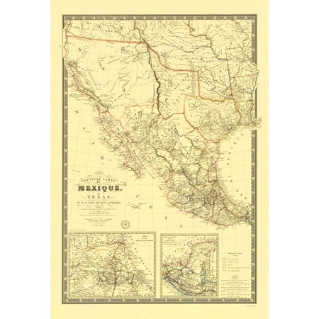 New Map of Mexico and Texas - 1840 - 23 x 33.59