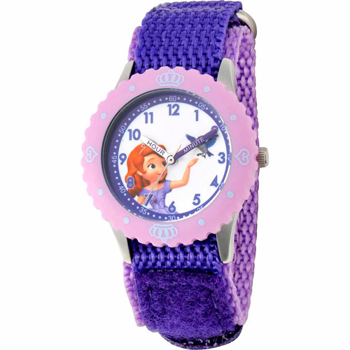 Disney Sofia the First Girls' Stainless Steel Watch, Purple Strap