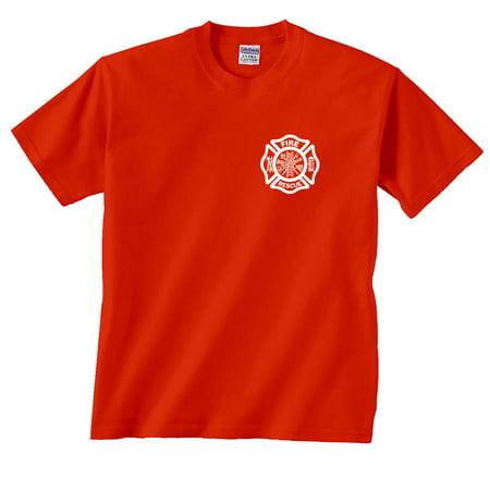 Fire Rescue Maltese Cross Firefighter Badge Chest Print T-Shirt