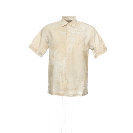 Cubavera Beige Floral Camp Shirt , Size Small