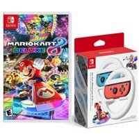 Mario Kart 8 Deluxe Standard Edition for Nintendo Switch + 2-Pack Nintendo Switch Joy-Con Wheel