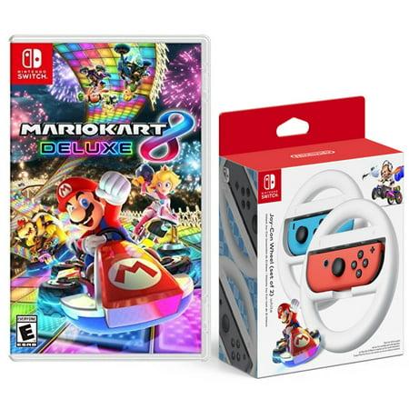 Mario Kart 8 Deluxe Game for Nintendo Switch with Bonus Joy-Con Wheel