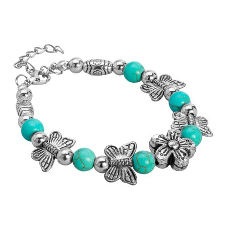 Blue Textured Beads Butterfly with Flowers Bracelet with Ball Beads by Jewelry Nexus