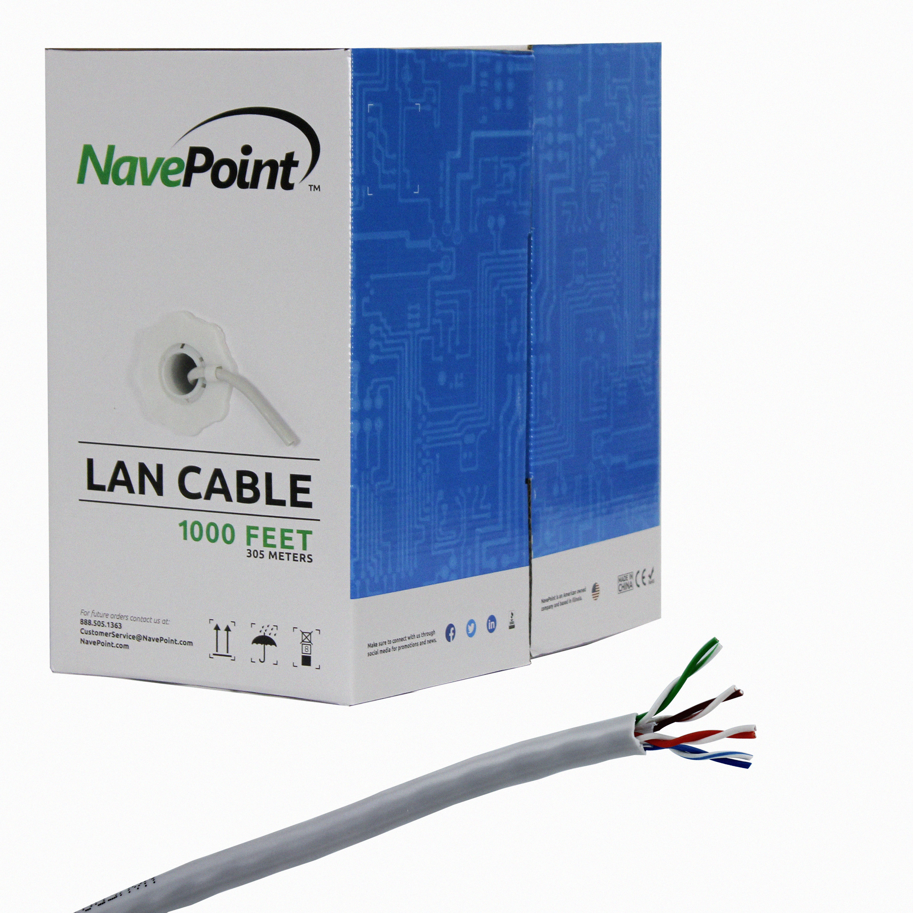 NavePoint CAT5e Solid Bulk Ethernet Cable Black UTP 24AWG 4 Pair Unshielded Twisted Pair 1000ft CCA