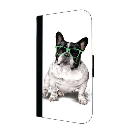 French Bulldog in a Top Hat and Glasses - Wallet Style Phone Case with 2 Card Slots Compatible with the Standard Samsung Galaxy s6 - French Style Phone