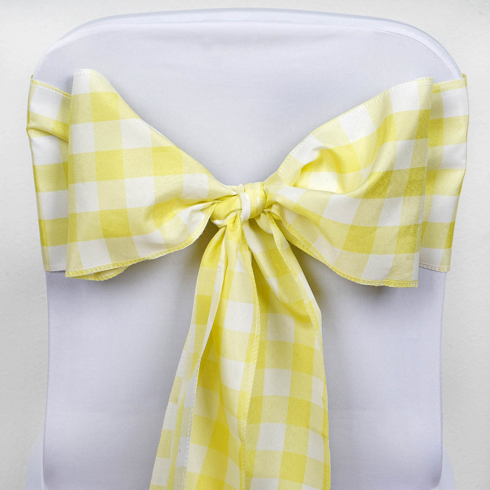 BalsaCircle 5 Gingham Checkered Polyester Chair Sashes Bows Ties - Wedding Party Ceremony Reception Event Decorations Supplies