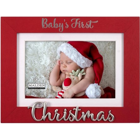 Malden 4'' x 6'' Baby's First Christmas Photo Frame 4'' X 6'' Red ()