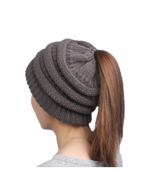 44c47312be1 Product Image Soft High Bun Ponytail Beanie Hat Womens Winter Hats Warm Knitted  Hat ( Pink )