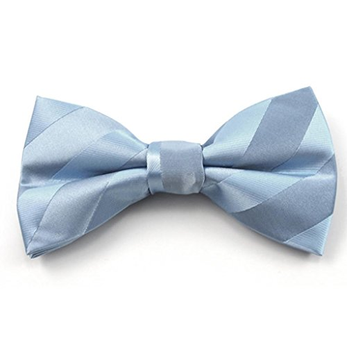 Baby Blue Solid Color Tonal Stripe Clip on Bow Ties