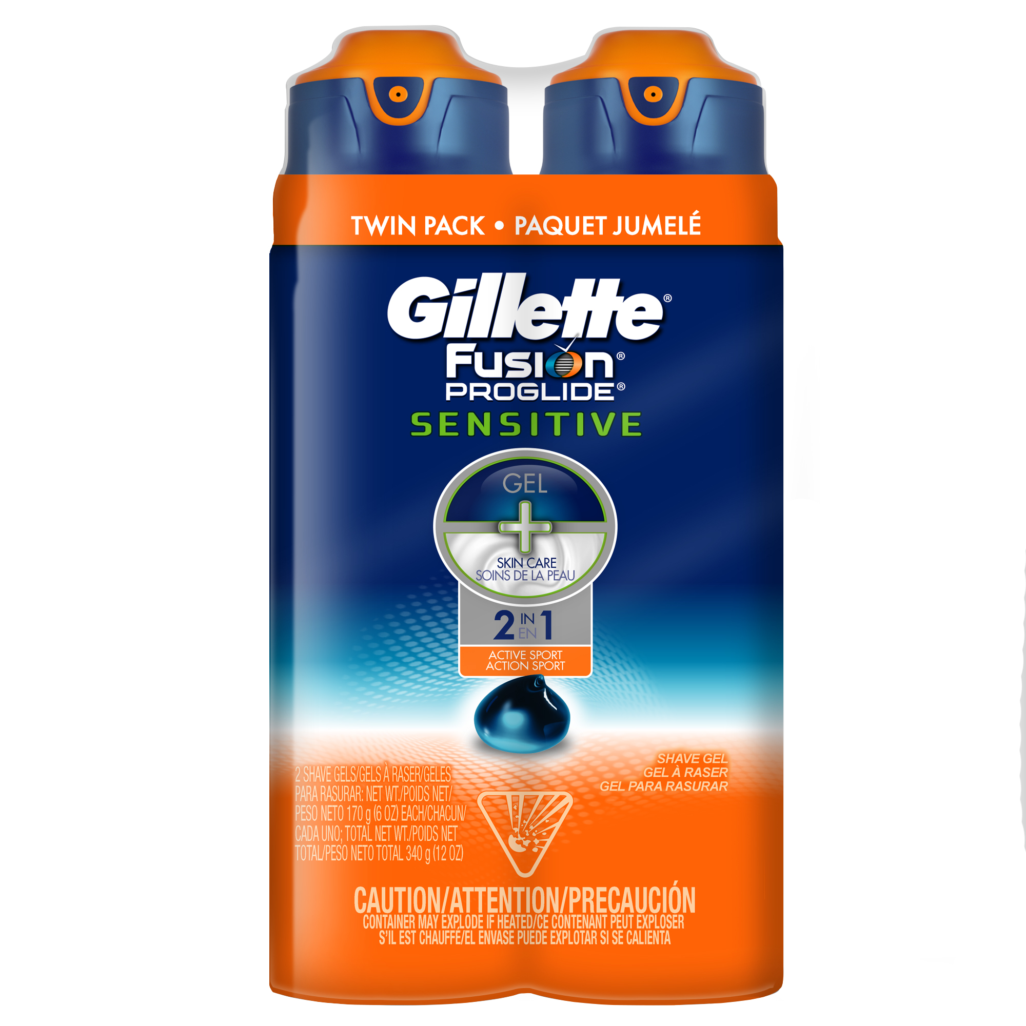 Gillette Fusion ProGlide Sensitive 2 in 1 Men's Shave Gel Twin Pack, Active Sport, 12oz
