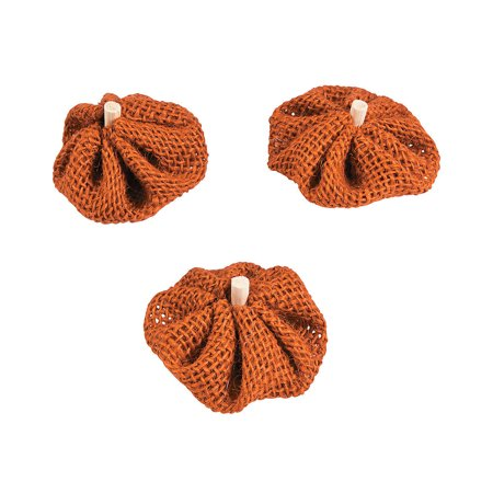 Fun Express - Fall Burlap Pumpkins for Fall - Craft Supplies - Bulk Craft Accessories - Felt & Fabrics - Fall - 12 Pieces (Bulk Fabric)