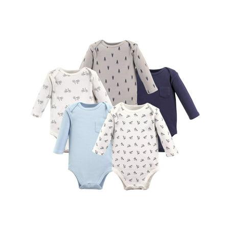 Hudson Baby Boy Long Sleeve Bodysuit, 5-Pack (Newborn 5 Piece Set)