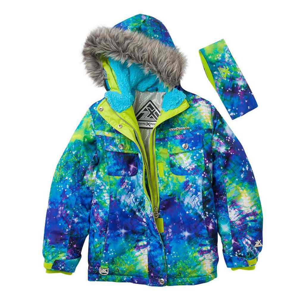 Zero Xposur Girls Green Blue Cosmic Coat Puffer Snowboard...