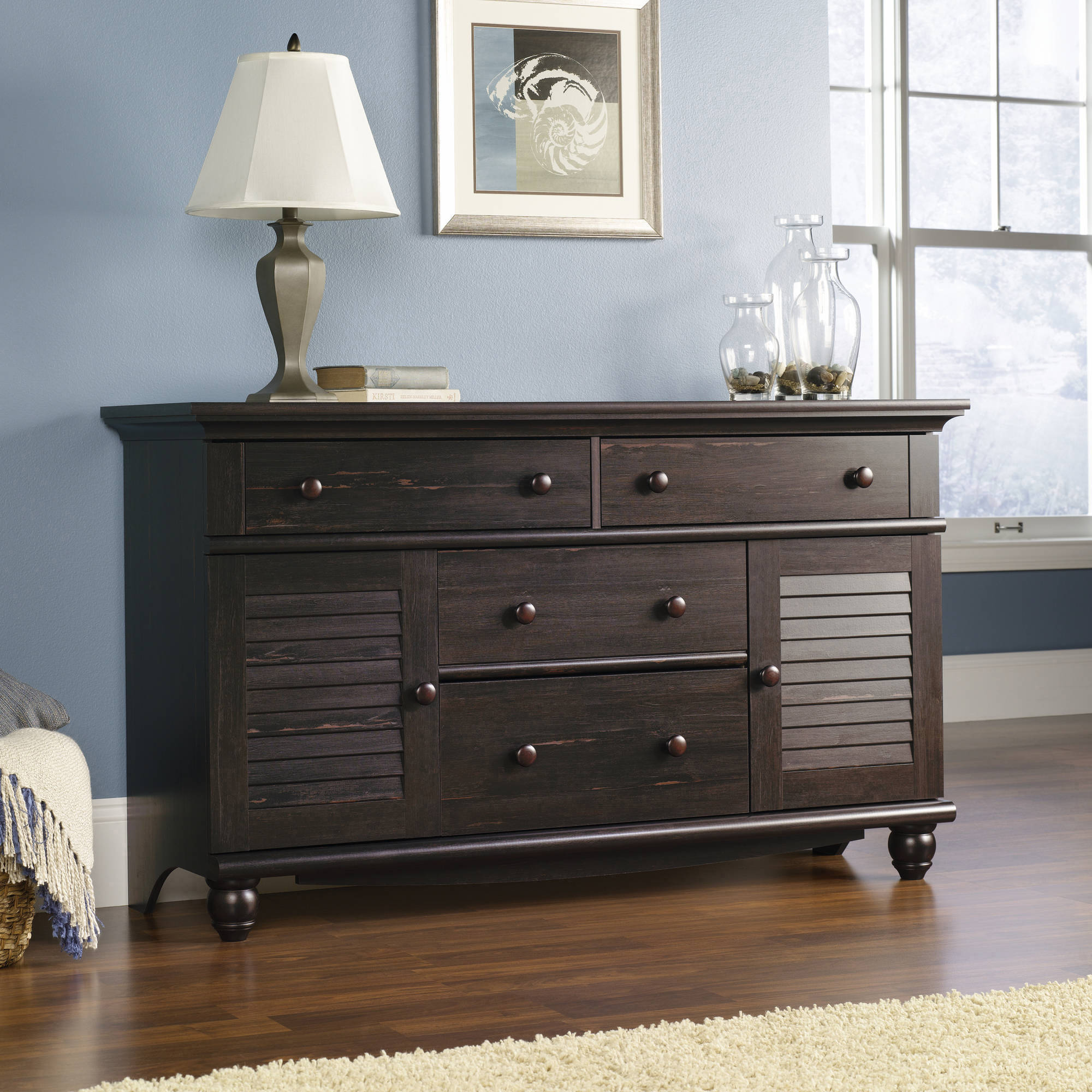 Sauder Harbor View Dresser, Antiqued Paint Finish