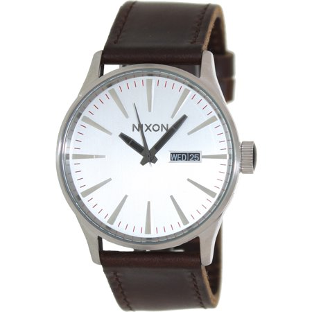 Click here for Mens Nixon The Sentry Leather Watch in Silver/Brow... prices