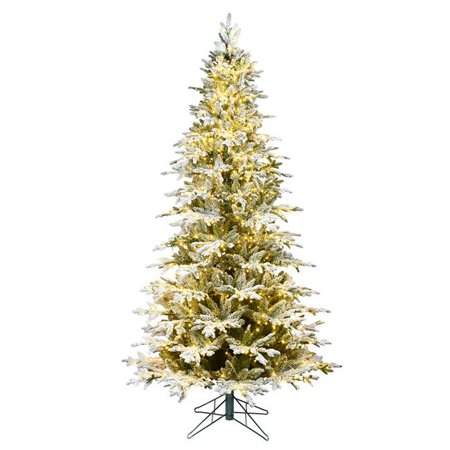 Vickerman K185156LED 5.5 ft. x 38 in. Flocked Kamas Fraser Artificial Christmas Tree with 800 Warm White Low Voltage 3 mm LED Light & 1346 Tip Count - image 1 of 1